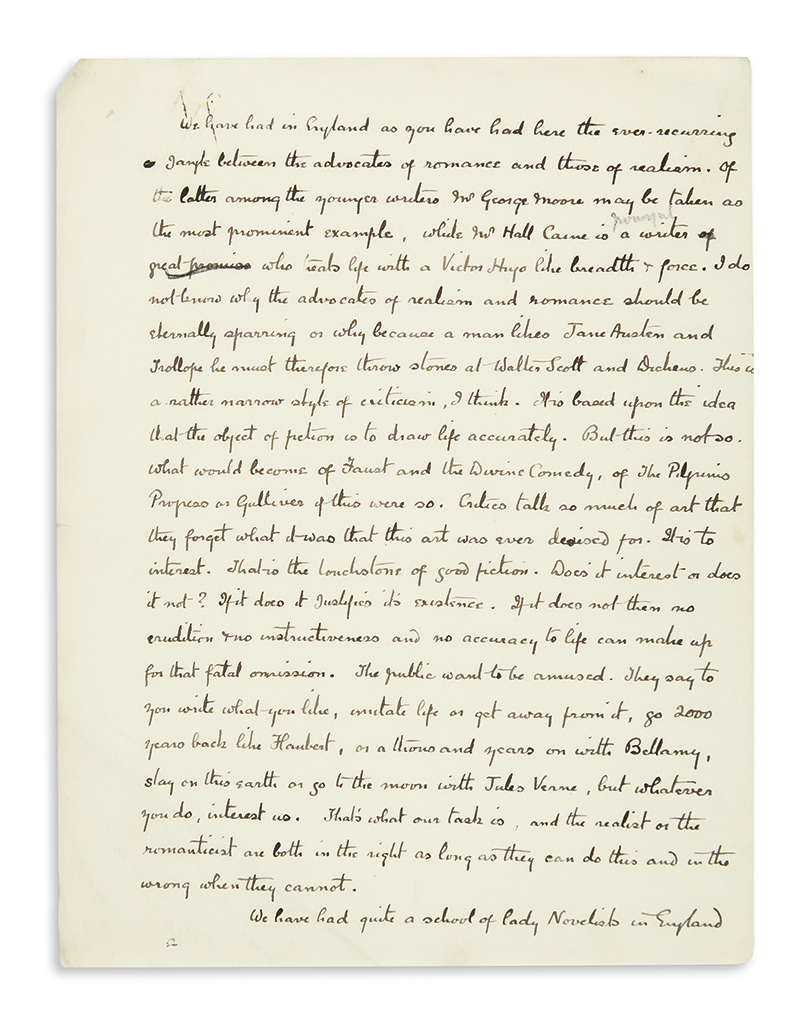DOYLE, ARTHUR CONAN. Three drafts of a lecture he delivered during his 1894 North American tour, each incomplete and unsigned,
