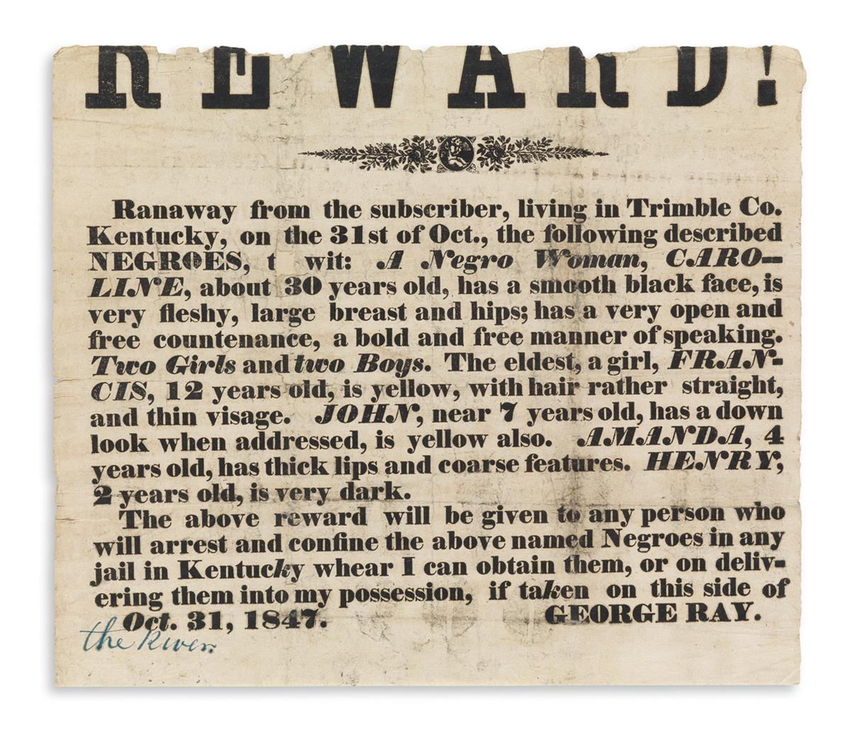 (SLAVERY AND ABOLITION.) Runaway reward notice for an important case.