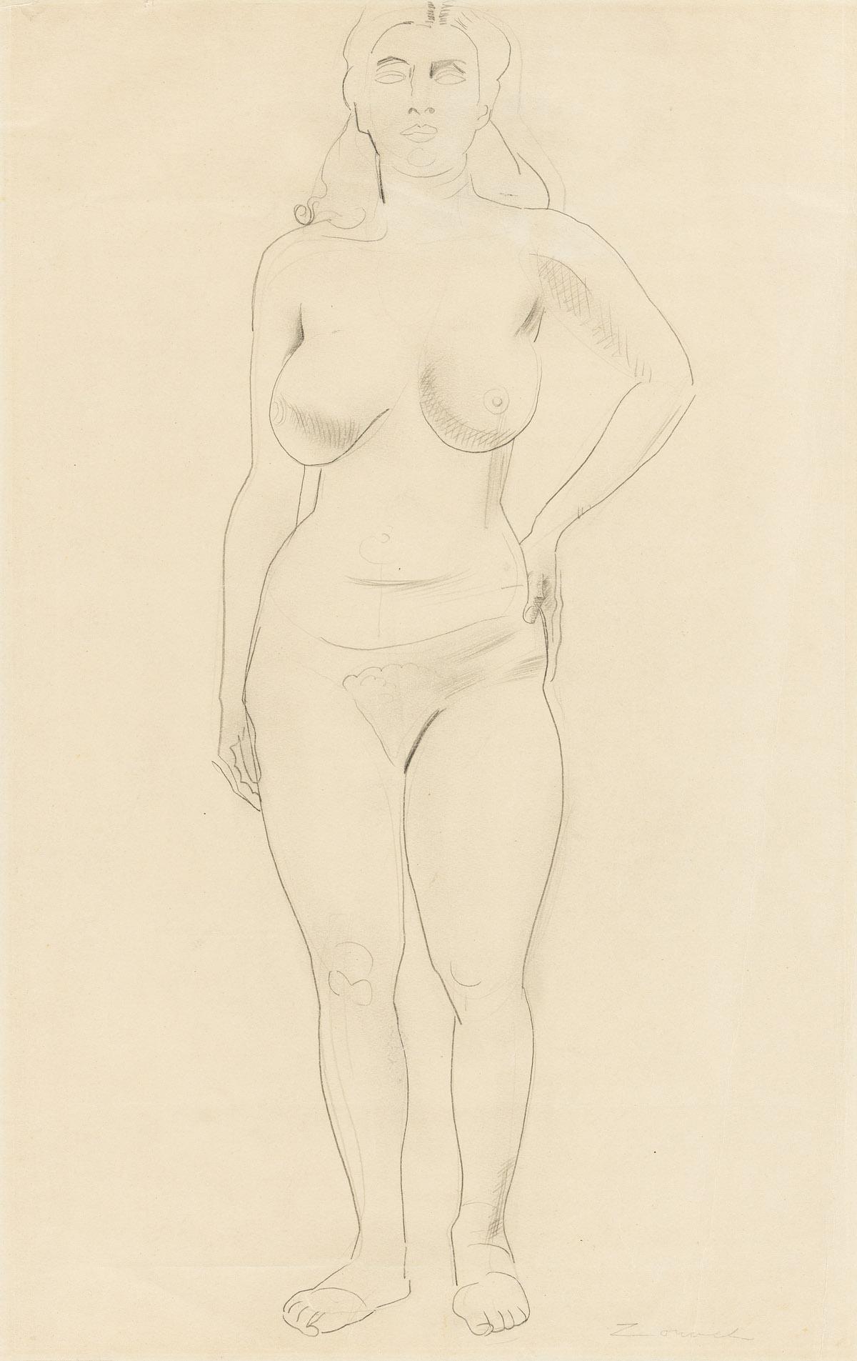 WILLIAM ZORACH (1887-1966) Standing Nude.