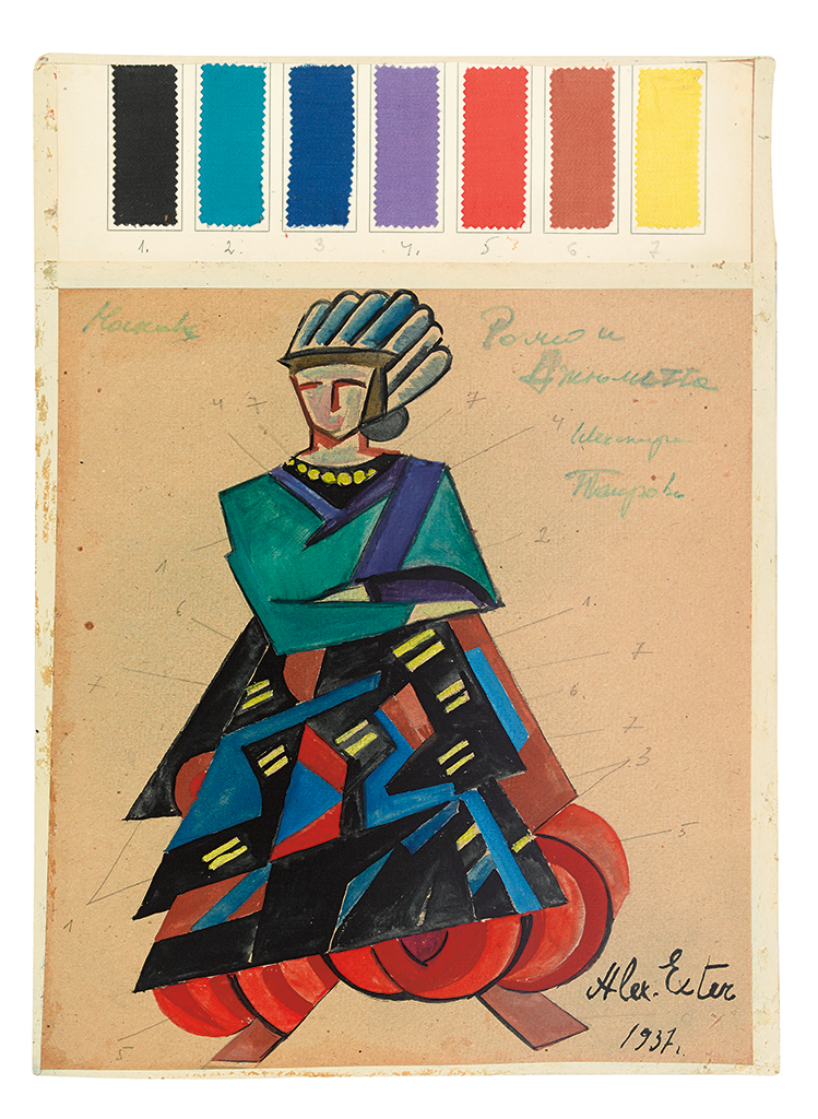 (COSTUME / THEATER.)  ALEXANDRA EXTER. Costume design for Romeo and Juliet.