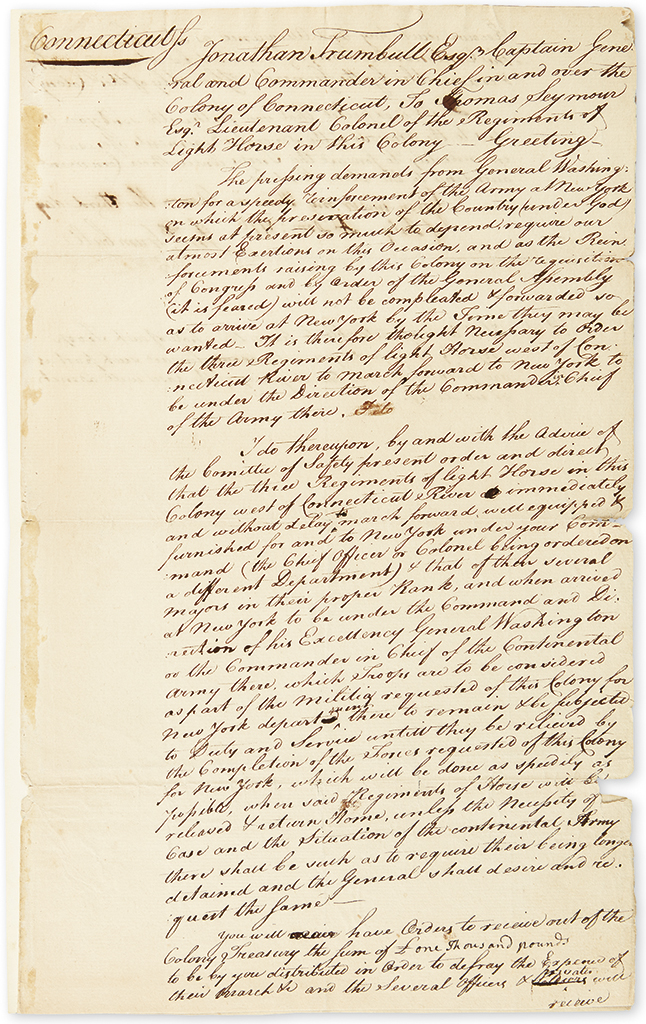 (AMERICAN REVOLUTION.) TRUMBULL, JONATHAN. Autograph Document Signed, Jonth Trumbull, as Colonial Governor of Connecticut, ordering