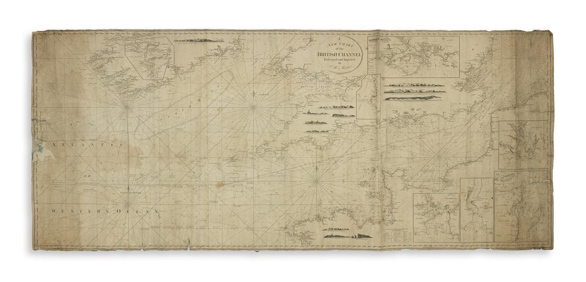 (BLUEBACK CHARTS.) Moore, John Hamilton. A New Chart of the British Channel.