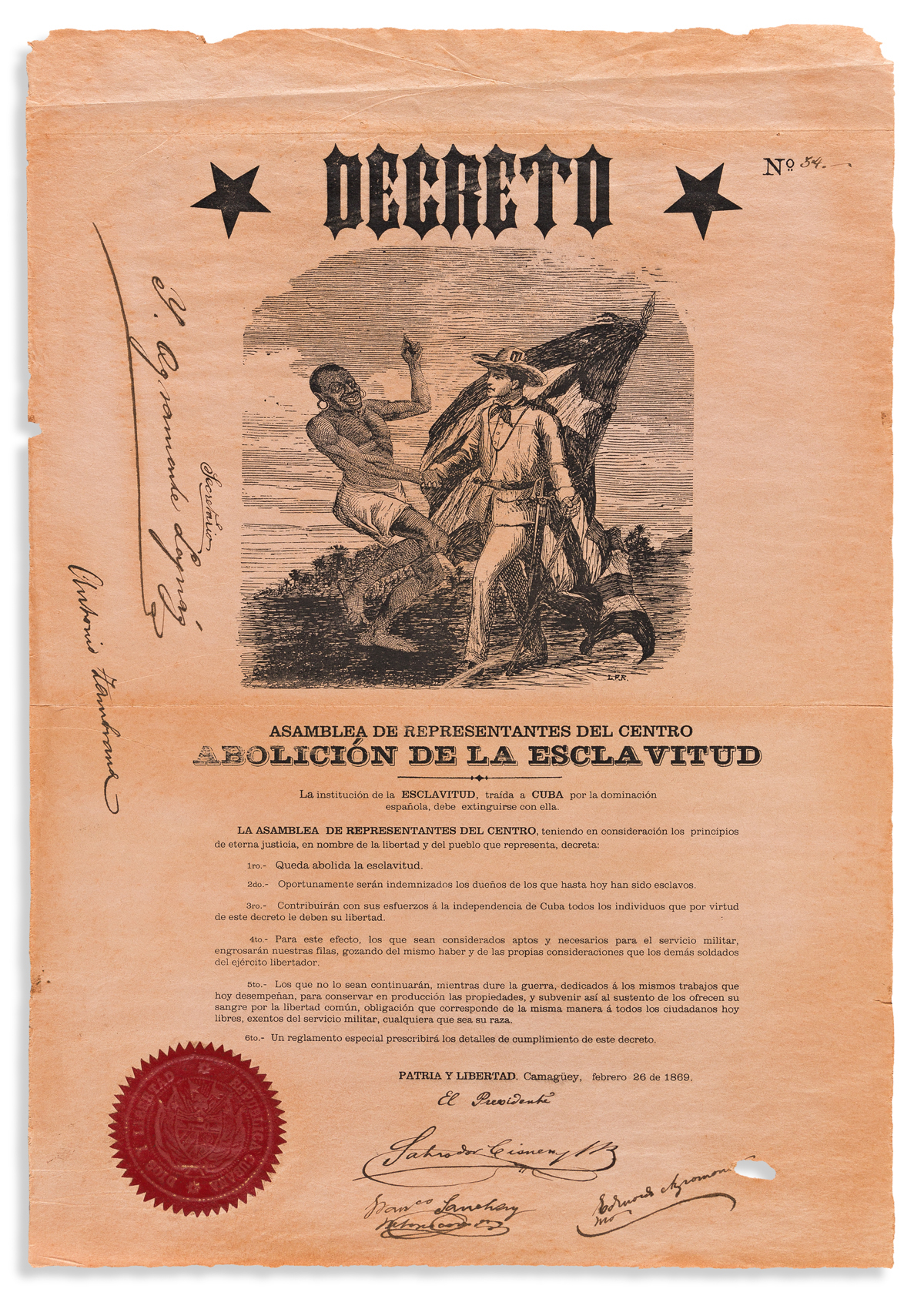 (SLAVERY AND ABOLITION--CUBA.) Decree of the provisional rebel government abolishing slavery.