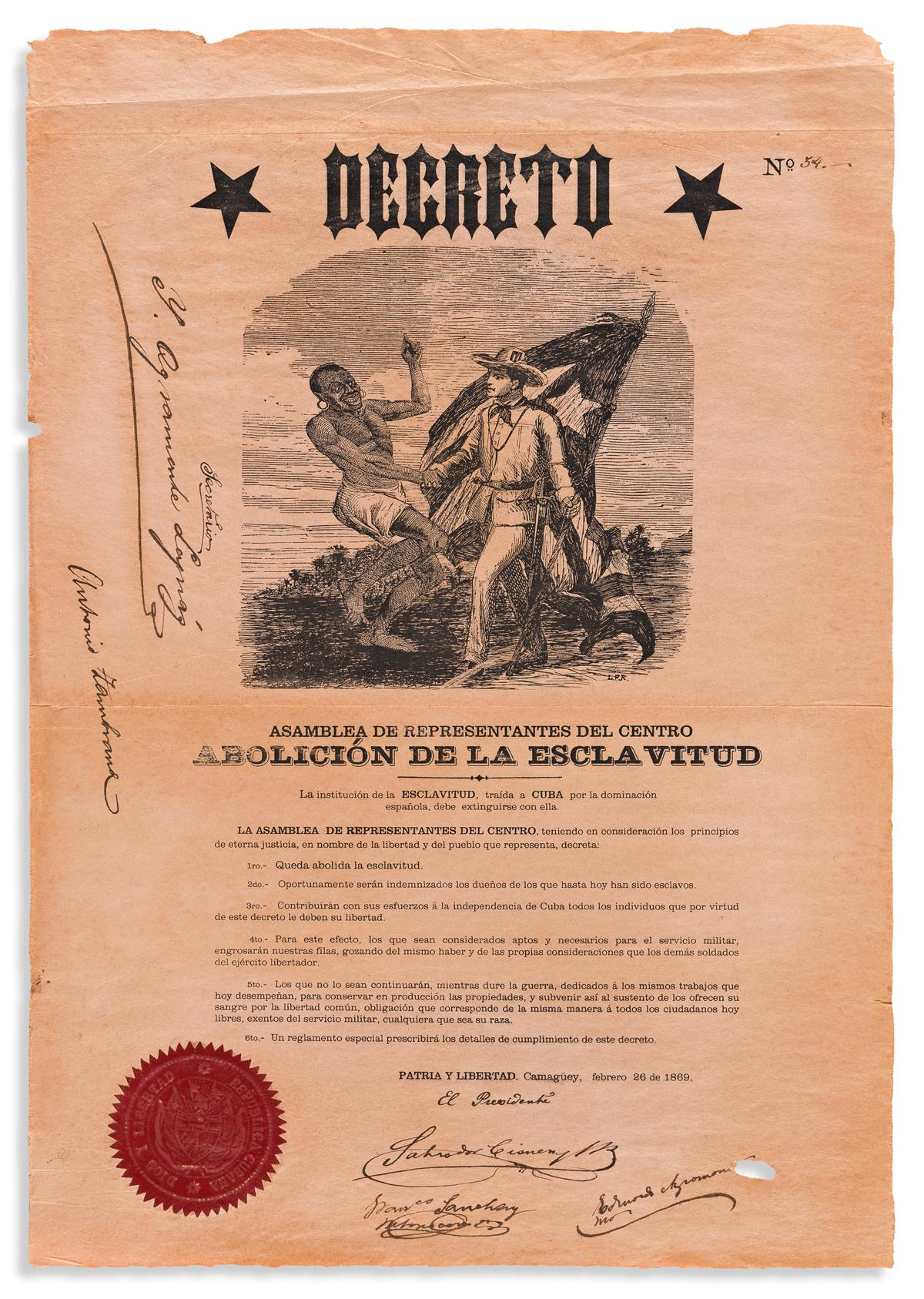 (SLAVERY AND ABOLITION--CUBA.) Decree of the provisional rebel government abolishing slavery.