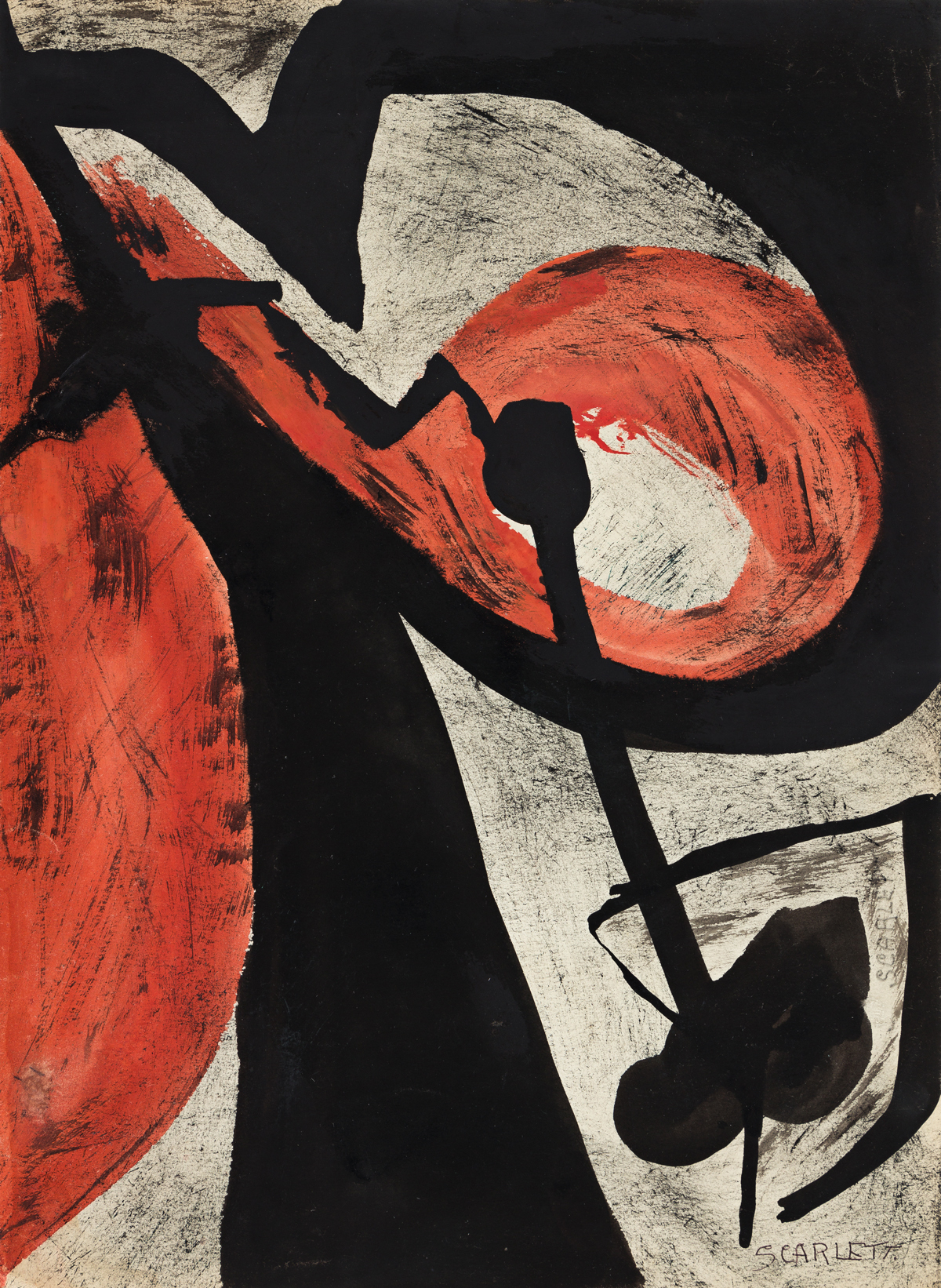 ROLPH SCARLETT (1889 - 1984, CANADIAN/AMERICAN) Untitled, (Study in Red and Black).