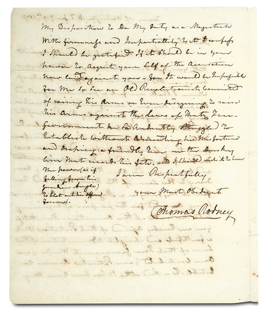 RODNEY, THOMAS. Autograph Letter Signed, as Chief Justice of the Mississippi Supreme Court, to Aaron Burr,
