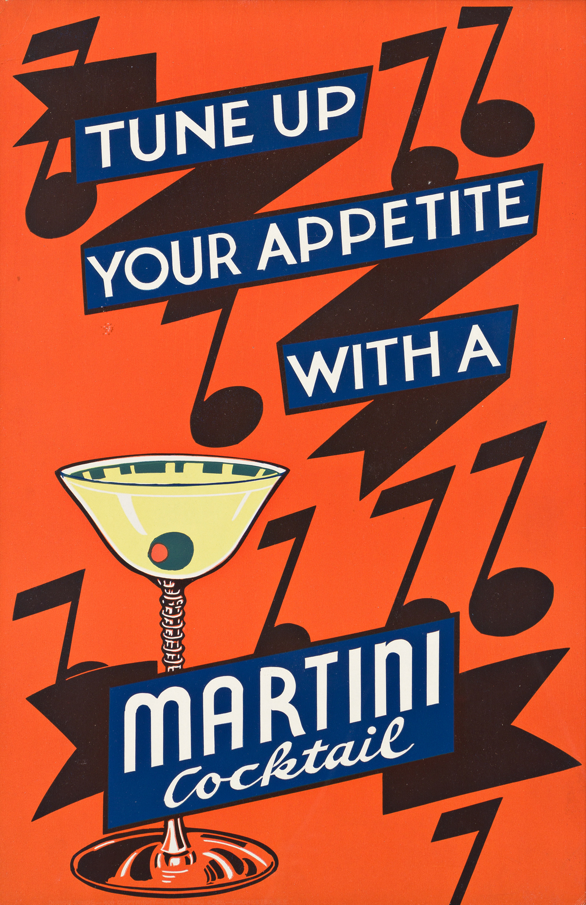 DESIGNERS UNKNOWN.  [COCKTAILS / MARTINIS.] Group of 4 window cards. Circa 1946. Each 17½x12 inches, 44½x30½ cm. Kelly-Read & Co., Roch