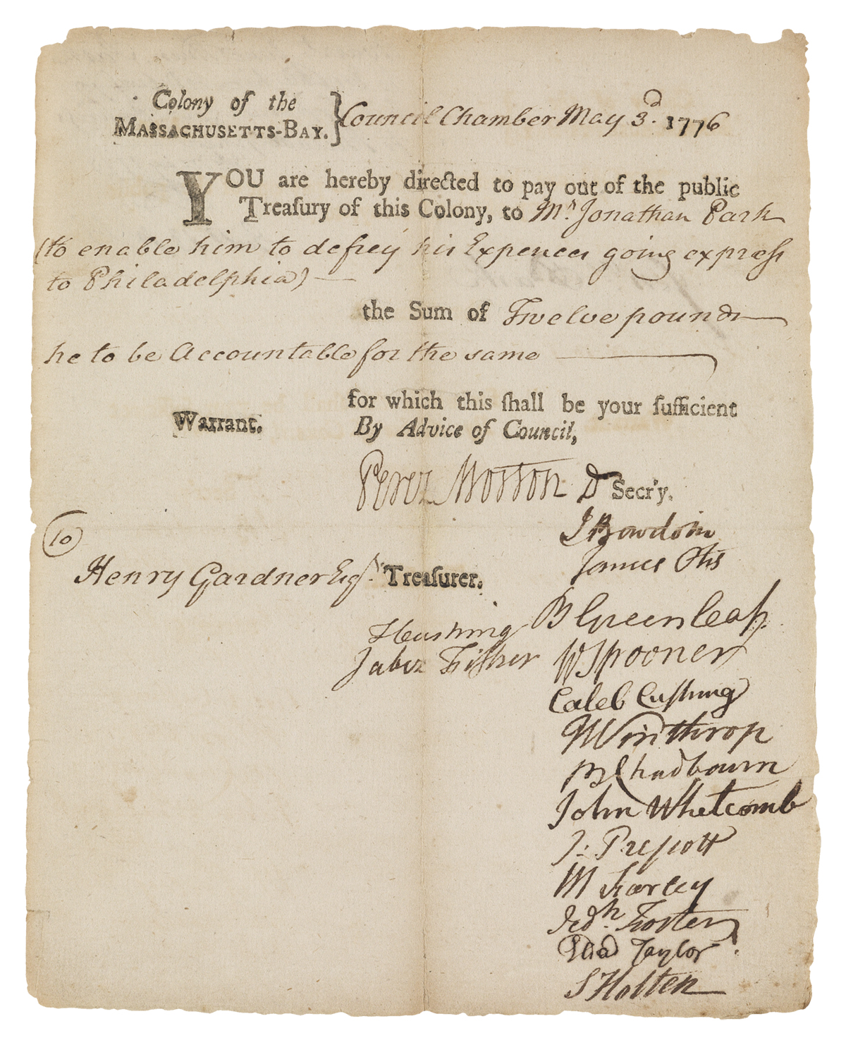 (AMERICAN REVOLUTION.) Pay order to express rider Jonathan Park to enable him to defrey his Expences going express to Philadelphia.