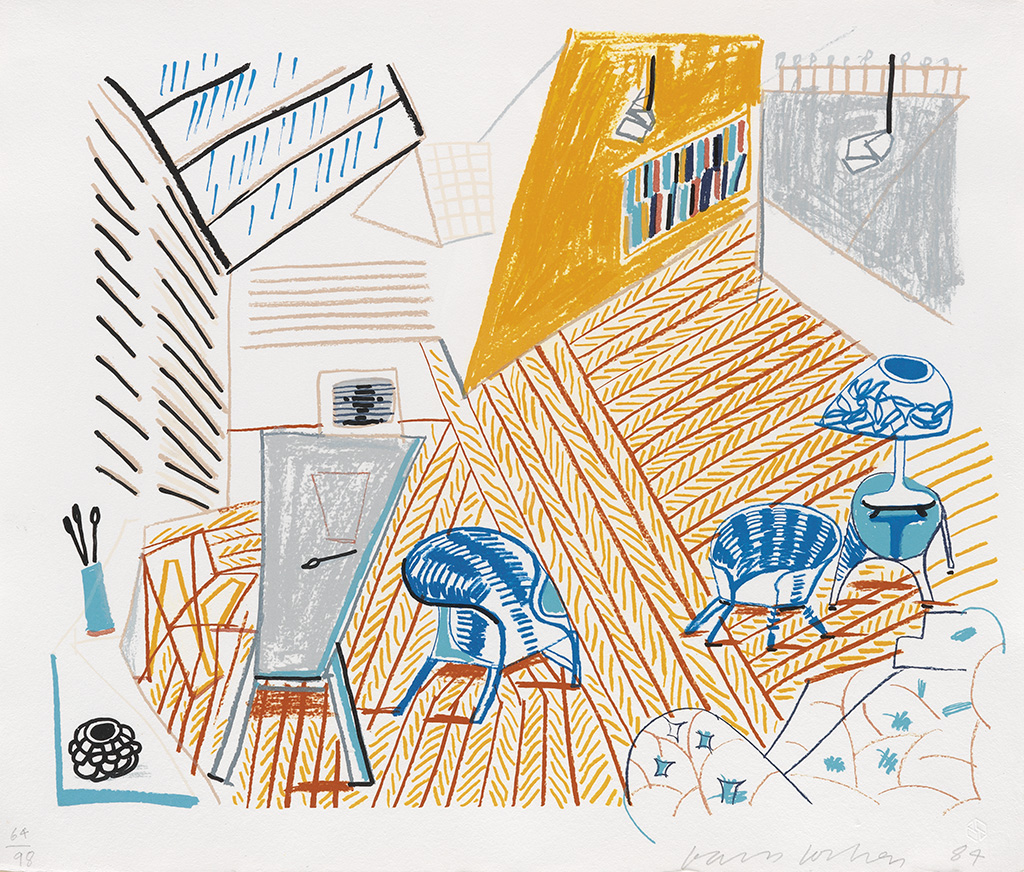 DAVID HOCKNEY Pembroke Studio with Blue Chairs and Lamp.