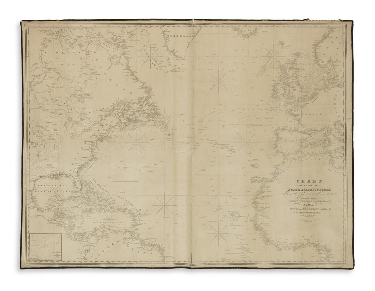 (BLUEBACK CHARTS.) Blunt, E. & G.W. Chart of the North Atlantic Ocean.