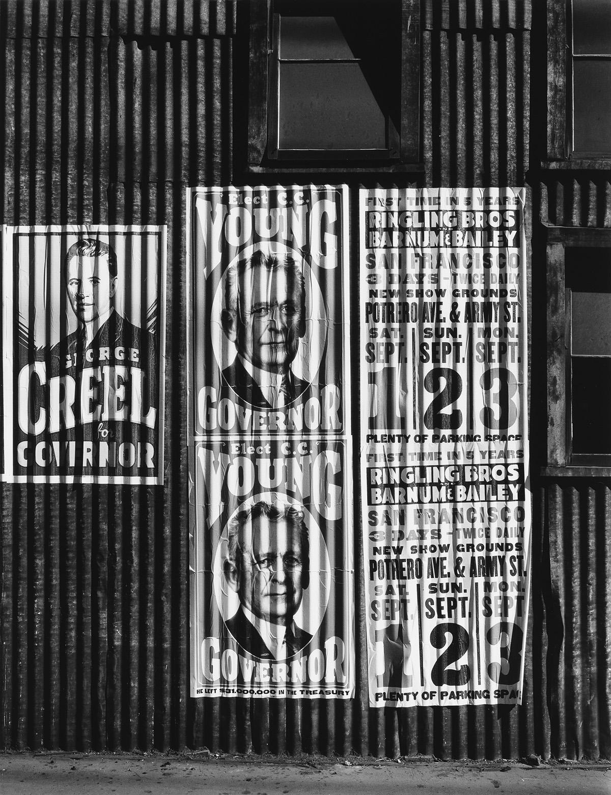 ANSEL ADAMS (1902-1984) Political Signs and Circus Posters, San Francisco.