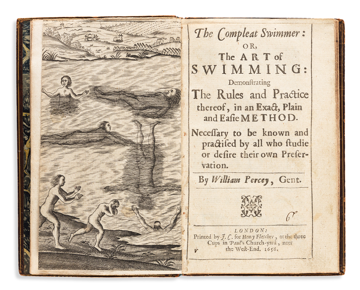 Digby, Everard (circa 1551-1605) trans. William Percey (pseudonym?) The Compleat Swimmer or the Art of Swimming.