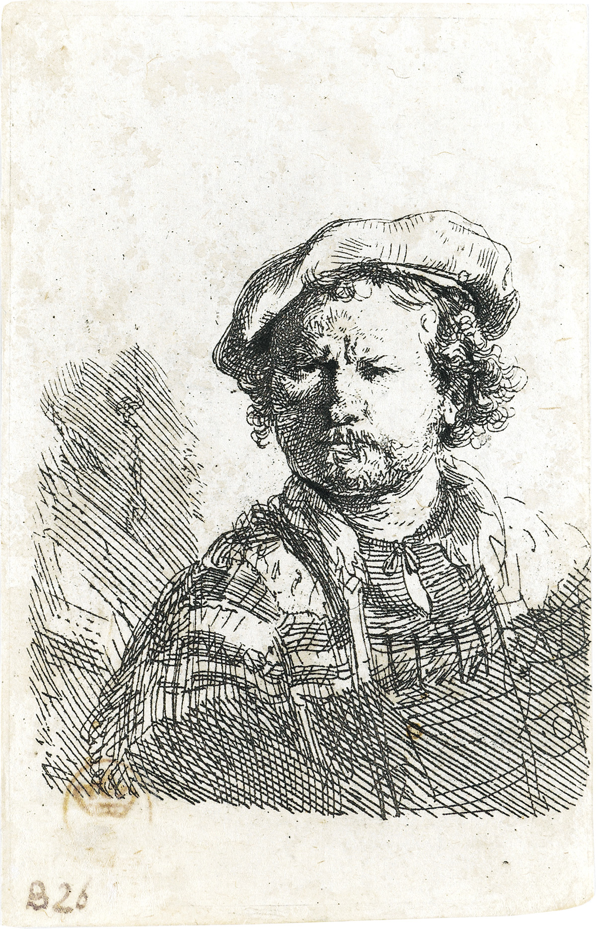 REMBRANDT-VAN-RIJN-Self-Portrait-in-a-Flat-Cap-and-Embroider