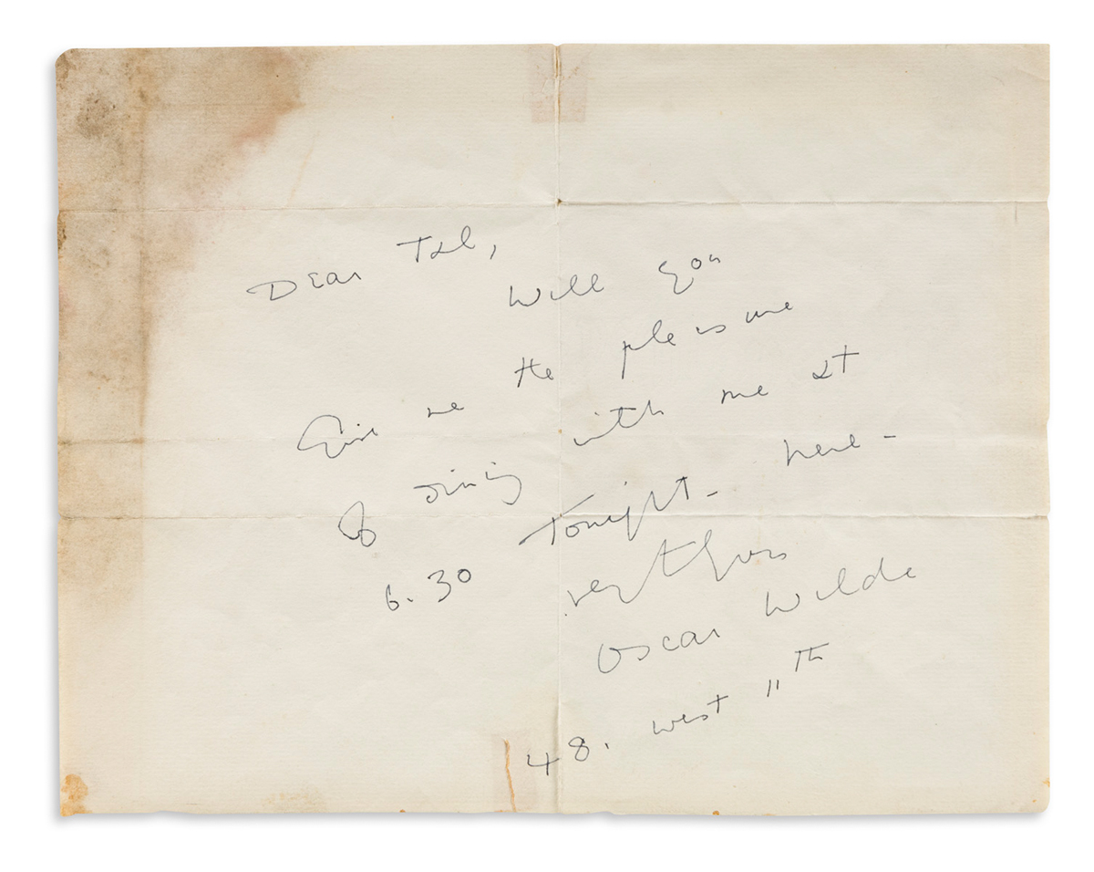 OSCAR WILDE (1854-1900) Autograph Note Signed, to Dear Ted [Theodore Tilton?]: