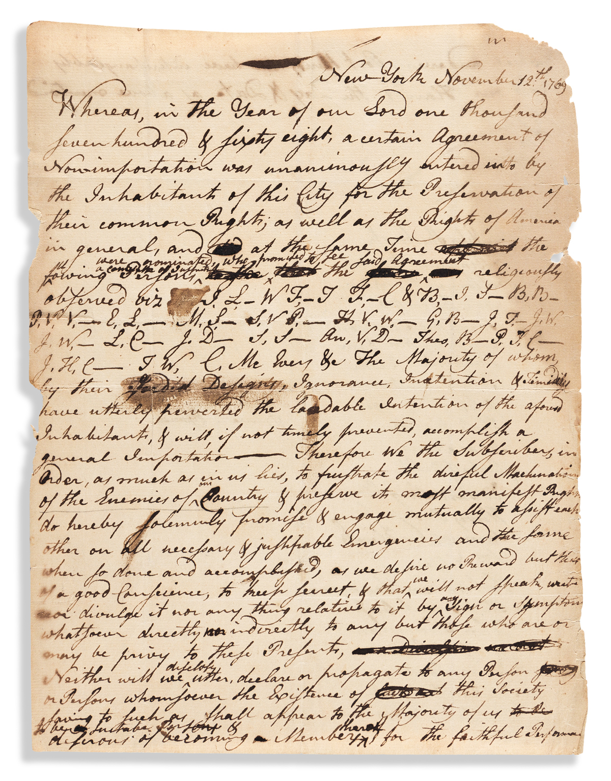 (AMERICAN REVOLUTION--PRELUDE.) Pact to enforce New Yorks Agreement of Non-Importation during the heyday of the Sons of Liberty.