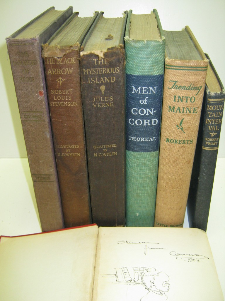 WYETH, N.C. Group of 7 books by various authors, Signed and Inscribed, to various recipients, including one book with small ink drawing