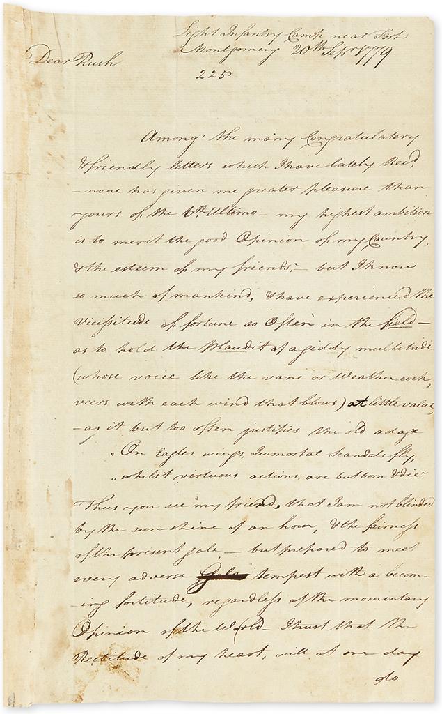 (AMERICAN REVOLUTION.) WAYNE, ANTHONY. Autograph Letter Signed, AnthyWayne, to Benjamin Rush (Dear Rush),