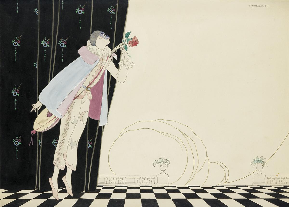 UMBERTO BRUNELLESCHI. Harlequin with rose.