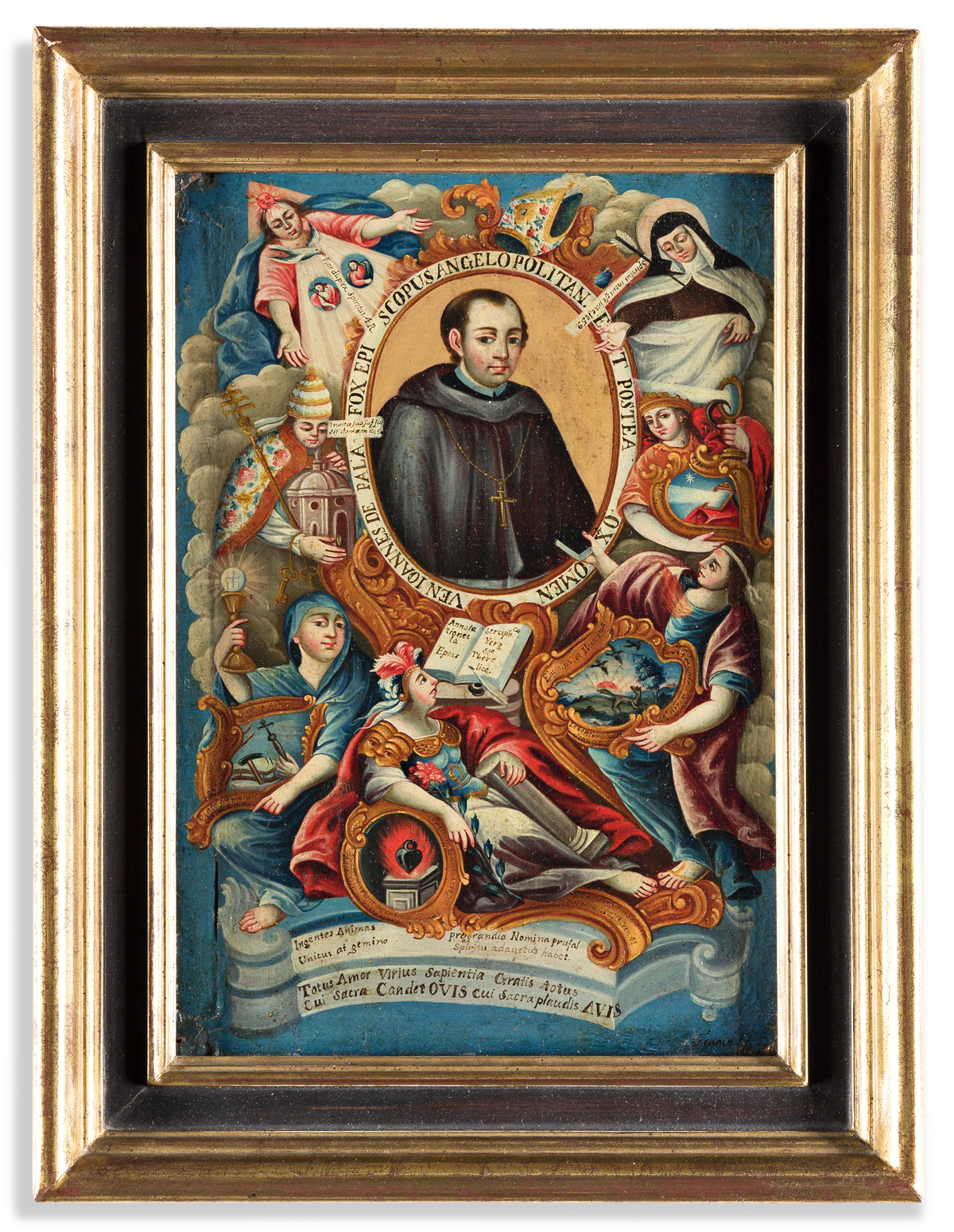 (MEXICO.) Franco, artist. Elaborate oil portrait of Juan de Palafox y Mendoza, the influential Bishop of Puebla.