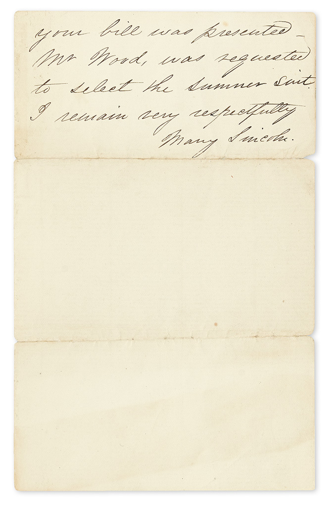 LINCOLN, MARY TODD. Autograph Letter Signed, Mary Lincoln, as First Lady, to the Presidents tailor Hindhaugh & Co,