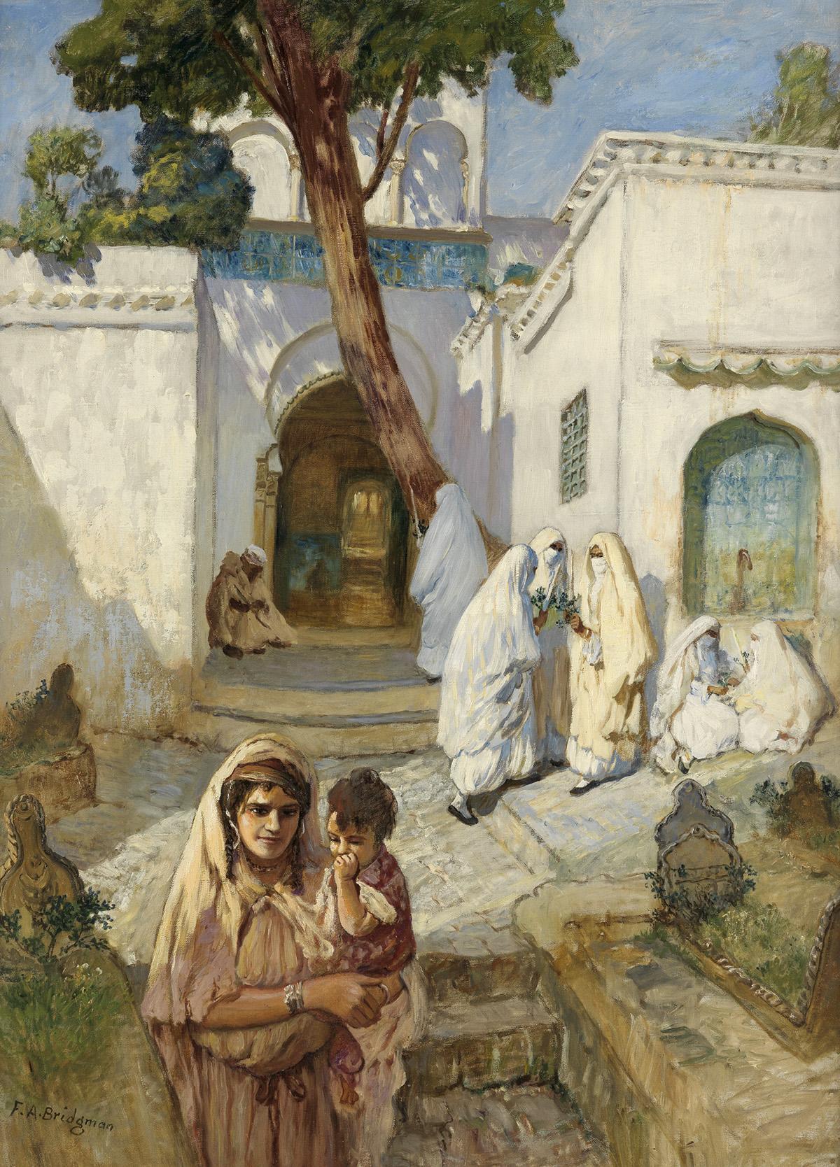 FREDERICK-ARTHUR-BRIDGMAN-Women-Near-the-Sidi-Abderrahman