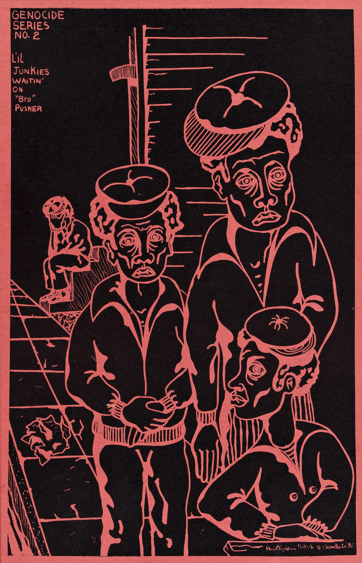 DANA C. CHANDLER, JR. (1941 - ) Genocide Series No. 2, Lil Junkies Waiting on Bro Pusher.