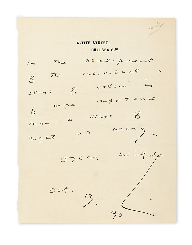 WILDE, OSCAR. Autograph Quotation dated and Signed:
