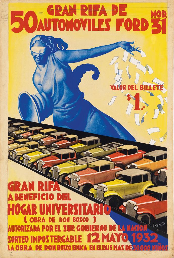 GINO-BOCCASILE-(1901-1952)-50-GRAN-RIFA-DE-AUTOMOVILES-FORD-