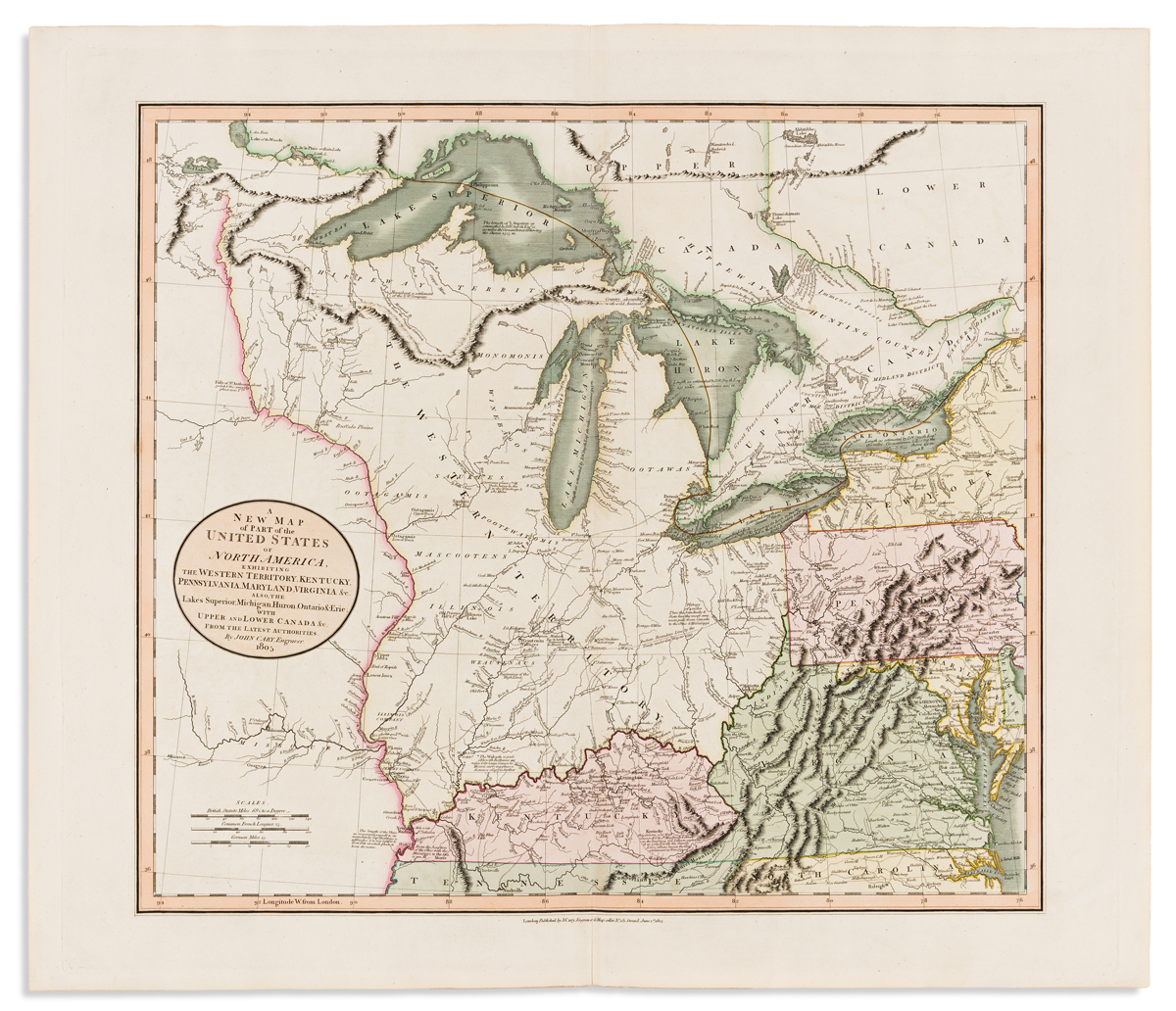 CARY, JOHN. A New Map of Part of the United States of North America, Exhibiting the Western Territory,