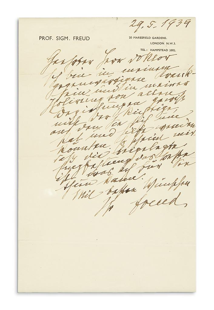 (SCIENTISTS)-FREUD-SIGMUND-Autograph-Letter-Signed-Freud-to-
