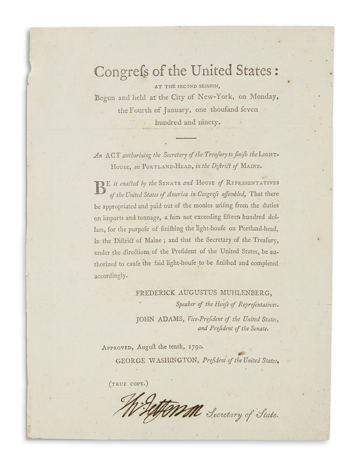 JEFFERSON, THOMAS. Printed Document Signed, Th:Jefferson, as Secretary of State, an act of the First Congress: