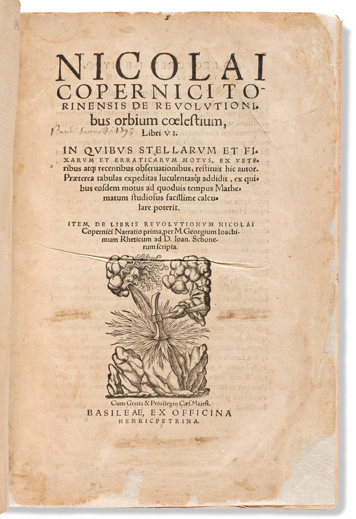 Copernicus, Nicolaus (1473-1543) De Revolutionibus Orbium Coelestium.