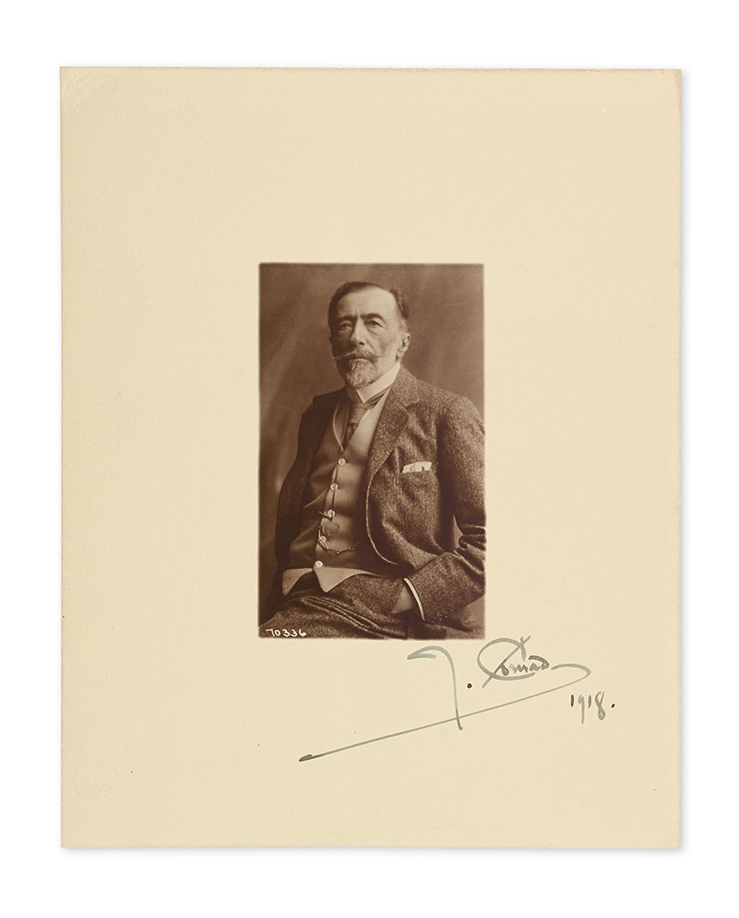 "CONRAD, JOSEPH. Photograph dated and Signed, ""J. Conrad / 1918,"""