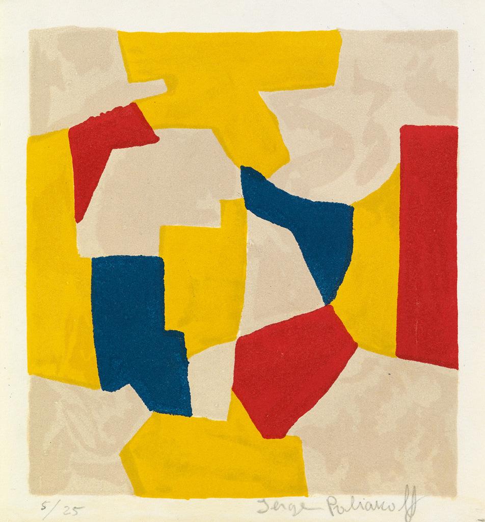SERGE-POLIAKOFF-Composition-grise-jaune-rouge-et-bleue