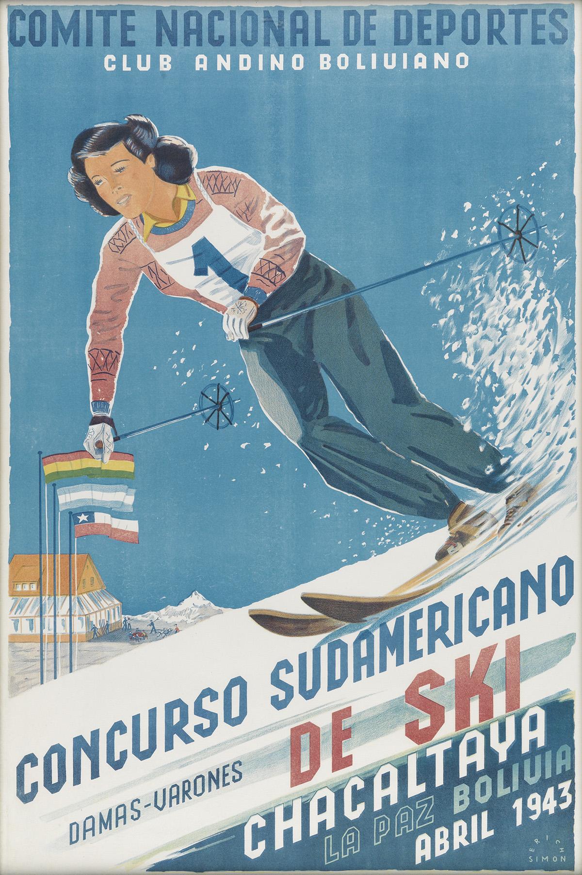 ERICH SIMON (DATES UNKNOWN). CONCURSO SUDAMERICANO DE SKI. 1943. 28x18 inches, 72x47 cm.