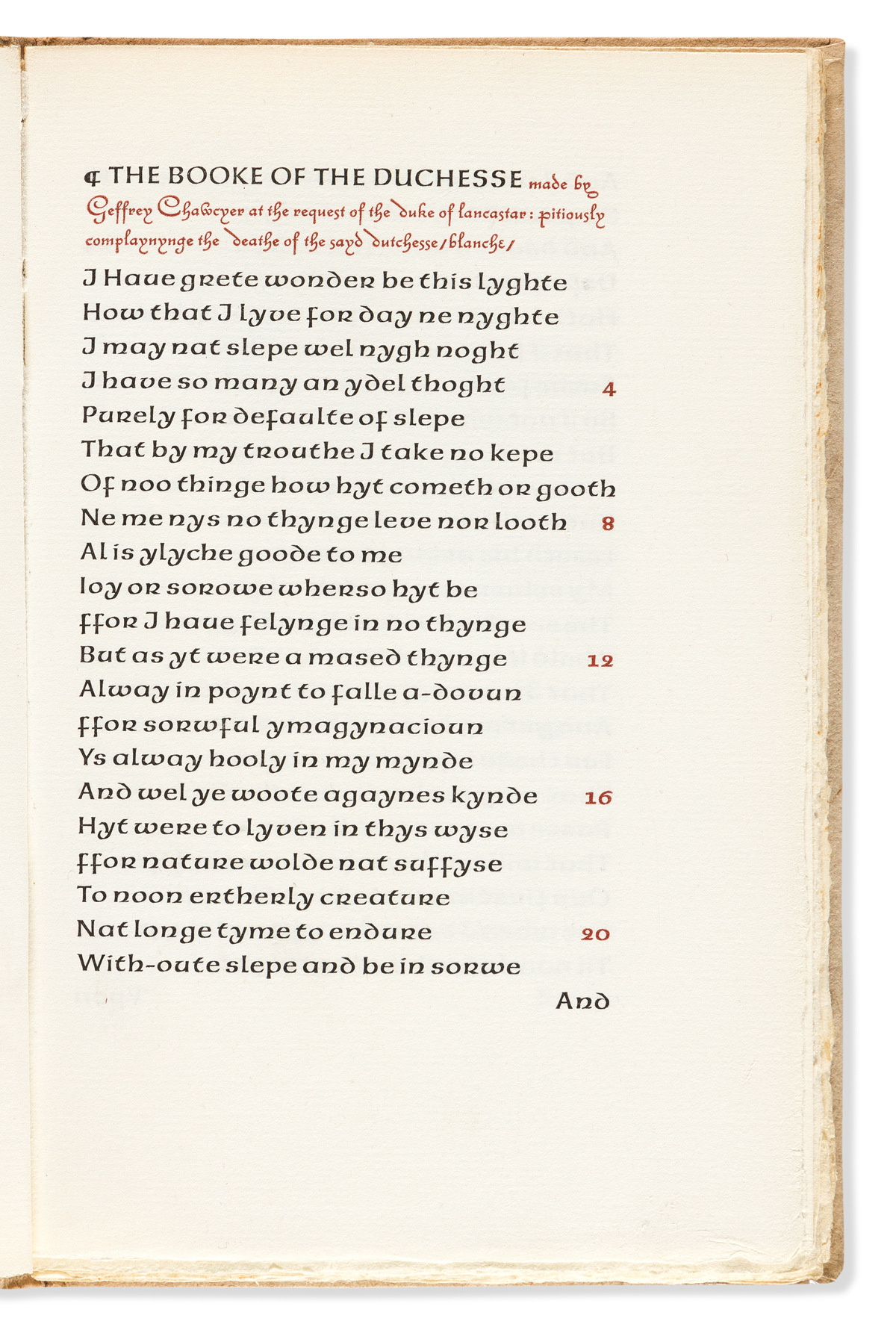 (ANVIL PRESS.) Chaucer, Geoffrey. The Booke of the Duchesse.