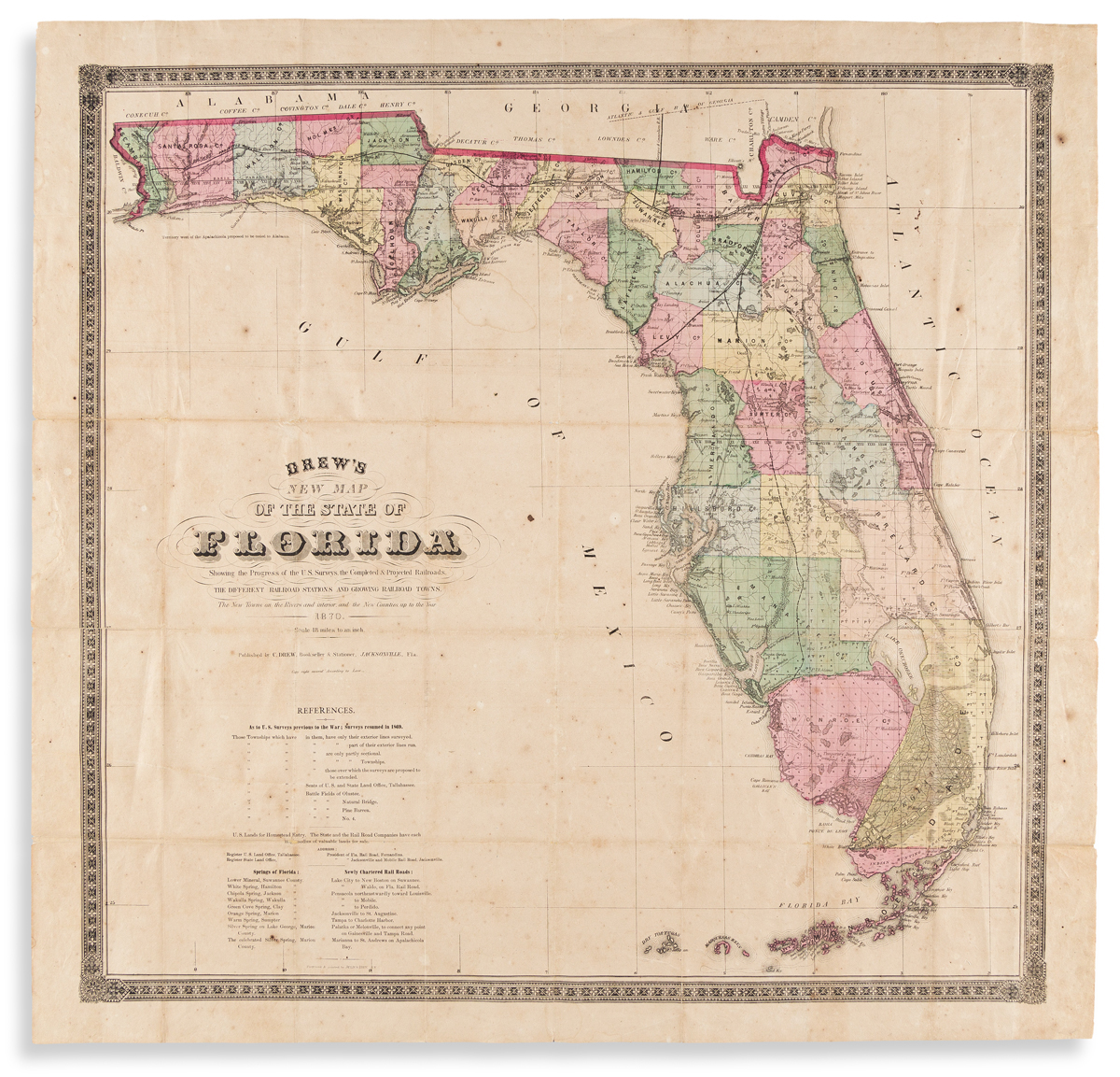 (FLORIDA.) Columbus Drew. Drews New Map of the State of Florida.