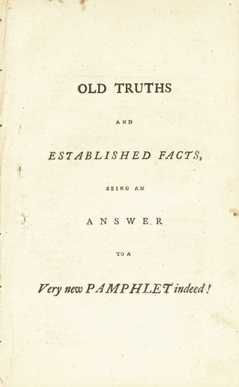 (SLAVERY AND ABOLITION.) VINDEX [PAINE, THOMAS.] Old Truths and Established Facts, Being an Answer to a Very New Pamphlet Indeed * A Ve