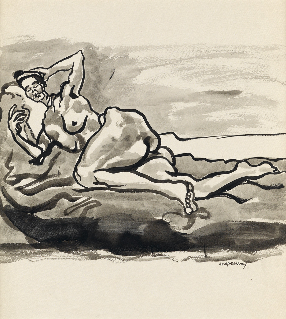 JOSEPH DELANEY (1904 - 1991) Untitled (Reclining Nude).