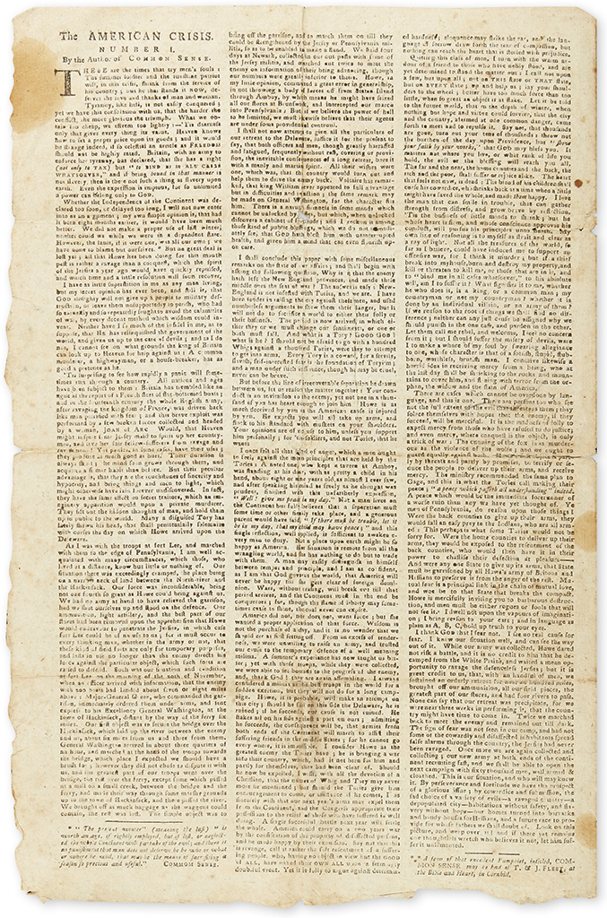 (AMERICAN REVOLUTION--1777.) [Paine, Thomas.] The American Crisis, Number I
