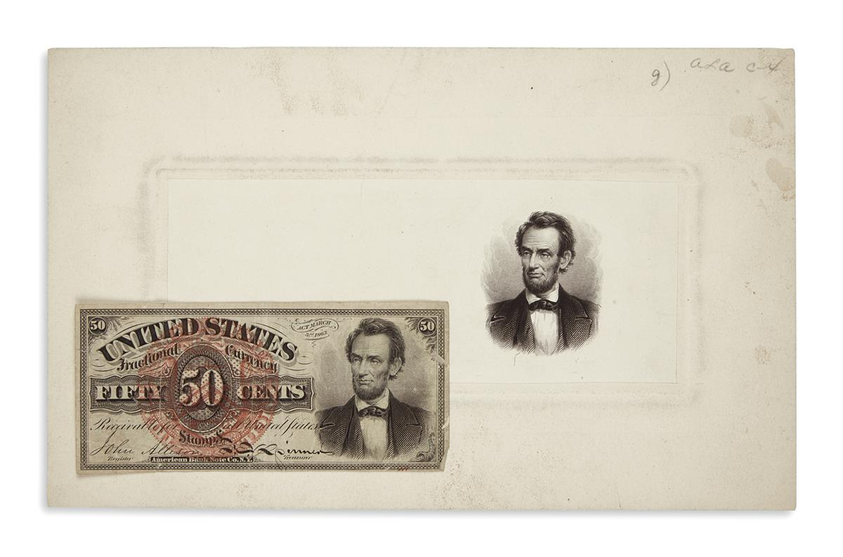 (EPHEMERA)-Group-of-3-paper-currency-items-featuring-Lincoln