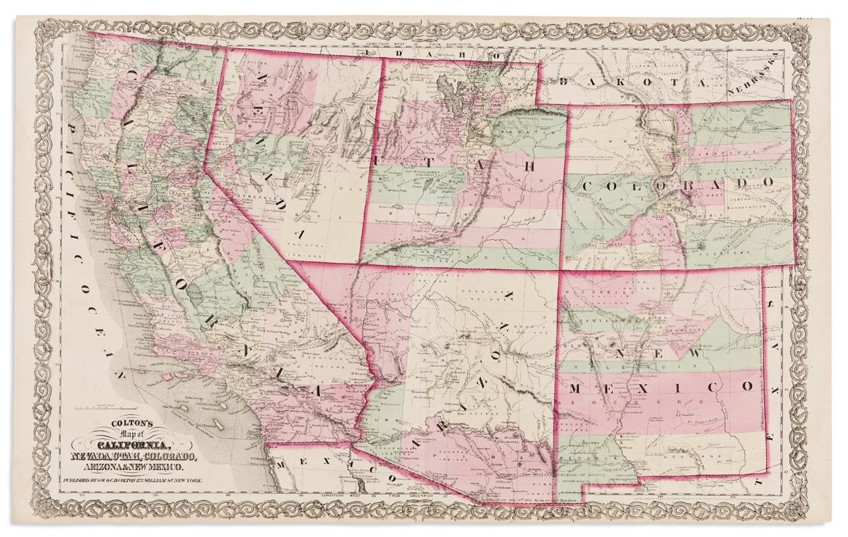 COLTON, G.W. & C.B. Coltons Map of California, Nevada, Utah, Colorado, Arizona & New Mexico.