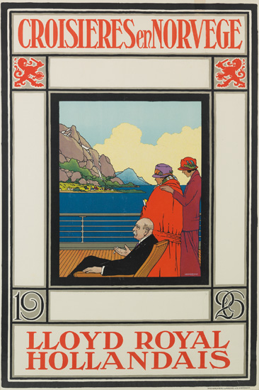 ALBERT HEMELMAN (1883-1951). CROISIÈRES EN NORVÈGE / LLOYD ROYAL HOLLANDAIS. 1926. 38x25 inches, 96x63 cm. Steendrukkerig Van Roessel &