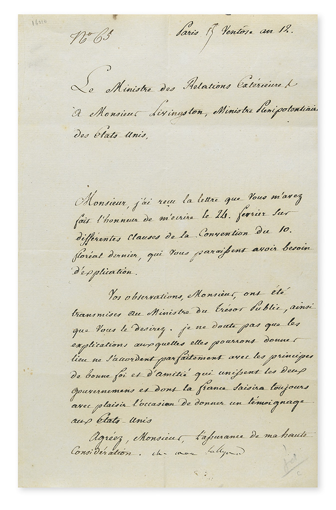 TALLEYRAND-PÉRIGORD, CHARLES MAURICE DE. Letter Signed, ch mau talleyrand, as Minister of Foreign Affairs, to Minister Plenipotentiar