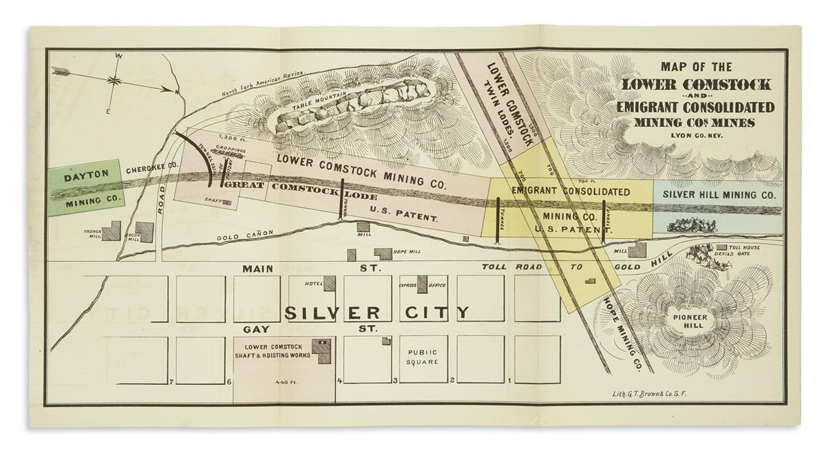 (ART.) Brown, Grafton Taylor; lithographer. Map of the Lower Comstock and Emigrant Consolidated Mining Cos. Mines, Lyon Co., Nev.