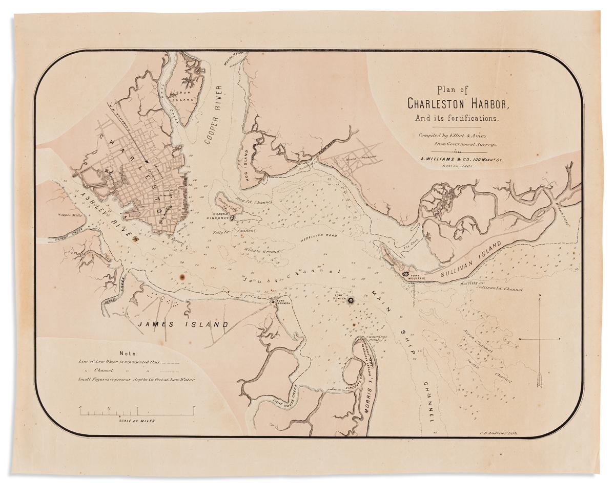 (CHARLESTON -- CIVIL WAR.) Elliot & Ames. Plan of Charleston Harbor, and its Fortifications.