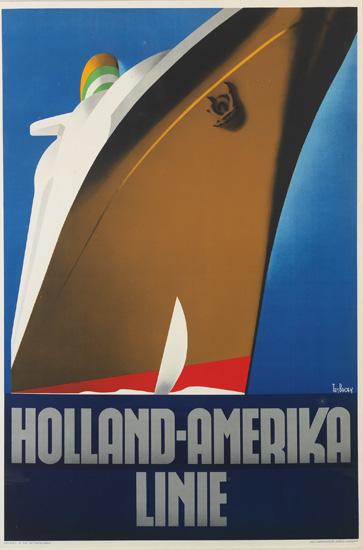 WILLEM FREDERICK TEN BROEK (1905-1993). HOLLAND-AMERIKA LINIE. 1936. 37x24 inches, 96x62 cm. Joh. Enschede En Zonen, Haarlem.