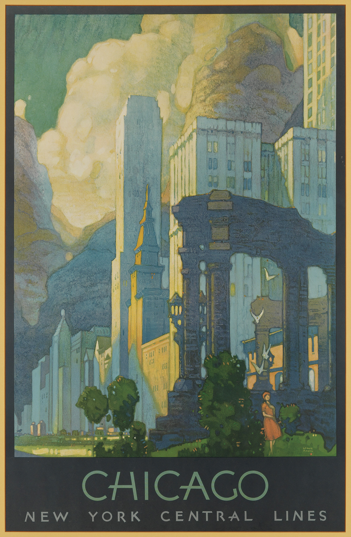 LESLIE RAGAN (1897-1972). CHICAGO / NEW YORK CENTRAL LINES. 1929. 39x25 inches, 99x64 cm. [Latham Litho. & Ptg. Co., Long Island City.]