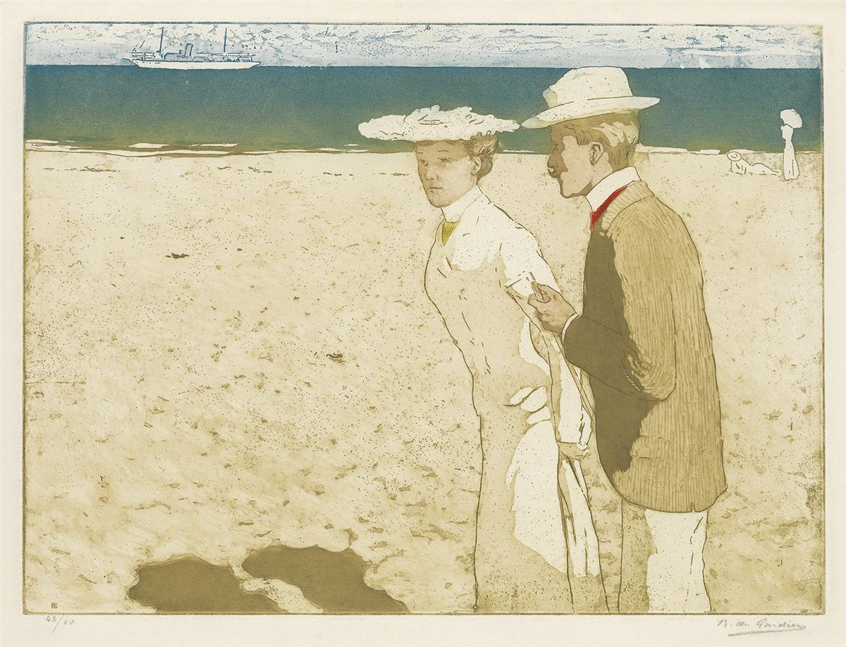 RAOUL DU GARDIER Three color aquatints with etching.