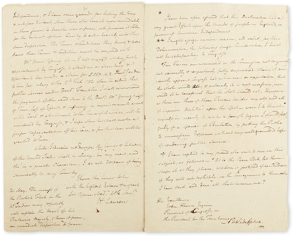 (AMERICAN REVOLUTION--1782.) Laurens, Henry. Letter detailing his imprisonment and release from the Tower of London.